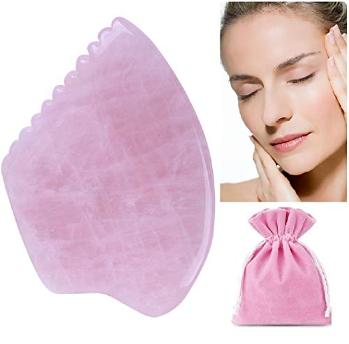 Best Rose Quartz Crystal Gua Sha Massage Tool For Scraping Facial And Body Skin Massage Lift+sculpt Contour Tool, Massage Stones, Facial Massage Roller (style 1 With Comb Edge)