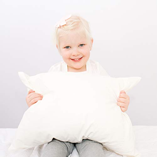 "Best Toddler Pillow Designed For Kids. Adjustable Fill Helps Children With Sleeping. Certified Organic Toddler Pillow Fabric. Includes Toddler Pillowcase. Super Soft Organic Kids Pillow. 14""x19"""