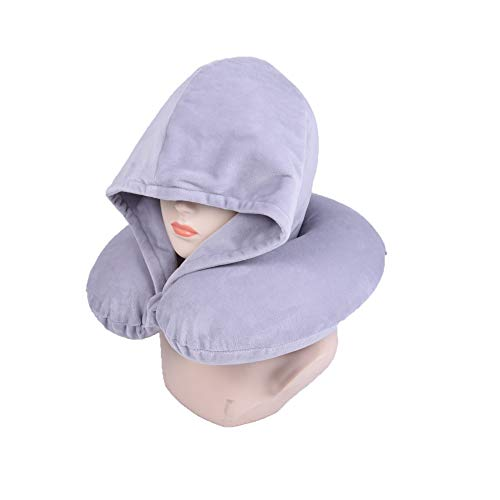 Bookishbunny Fashion Look U Shaped Memory Foam Neck Head Support Travel Pillow With Velvet Hoodie Best Comfort Pain Relief For Long Trip, Air Bus Traveling, Car Driving (solid Grey)