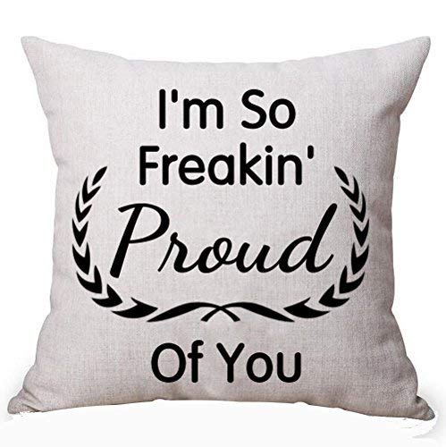 Delia32agnes Modern Best Gift Idea Black Creative Funny Quotes I'm So Freakin Proud Of You Linen Throw Pillow Covers Decorative With Zip 18 X 18 For Couch
