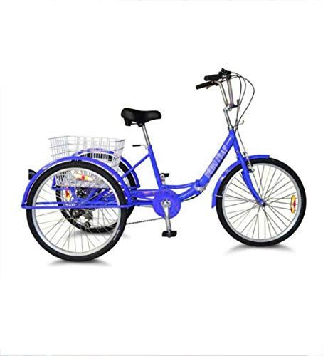Dongshan 24 Inch Tricycle Adult 3 Wheel Folding Comfortable Bicycle With Enlarged Rear Basket, 7 Speed Labor Saving, Suitable For The Elderly To Give Parents The Best Gift Weight 150kg Blue