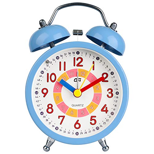 Dtkid Alarm Clock,silent Non Ticking Bedside Analog Alarm Clock,small Lightweight Travel Quartz Alarm Clock,with Snooze And Light,easy To Set,battery Operated,best For Gifts (blue)
