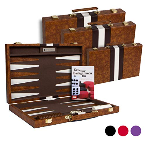 """Get The Games Out Top Backgammon Set Small 11"""" Travel Size Classic Board Game Case Best Strategy & Tip Guide (brown, Small)"""