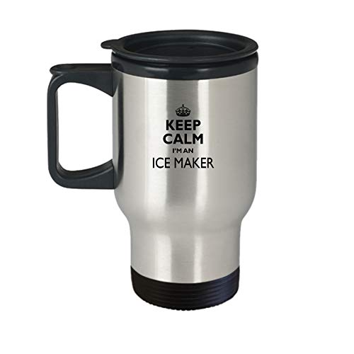 Ice Maker Travel Mug Aa62i Keep Calm Gift Cute Stainless Steel Insulated Tea Coffee Novelty Tumbler With Lid And Handle For Best Ever Coworker Non Spill 14 Oz