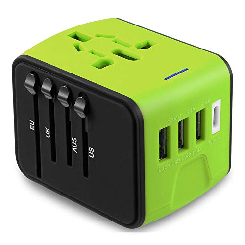 Jmfone International Travel Adapter The Best Universal Power Adapter Perfect Worldwide Plug Wall Charger With Type C 3 Usb Port With European Uk Eu Au Us Plugs (green)