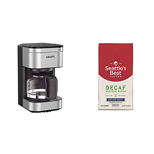 Krups Simply Brew Compact Filter Drip Coffee Maker, 5 Cup, Silver & Seattle's Best Coffee Decaf Portside Blend (previously Signature Blend No. 3) Medium Roast Ground Coffee, 12 Ounce (pack Of 1)