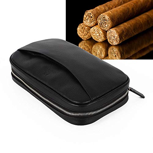 Luxury Genuine Leather Cigar Case Pouch 160mm Length Cigar Box Travel Humidor Leather Bag With 2 Pocket,best Gift
