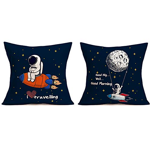 """Mehotop 18""""x18"""" Cotton Linen Spacemanthrow Pillows Case Decorative Outer Space Astronauts Rocket I Love Travelling Inspirational Quote Square Cushion Cover Set Of 2 Best Gift For Kids Children"""