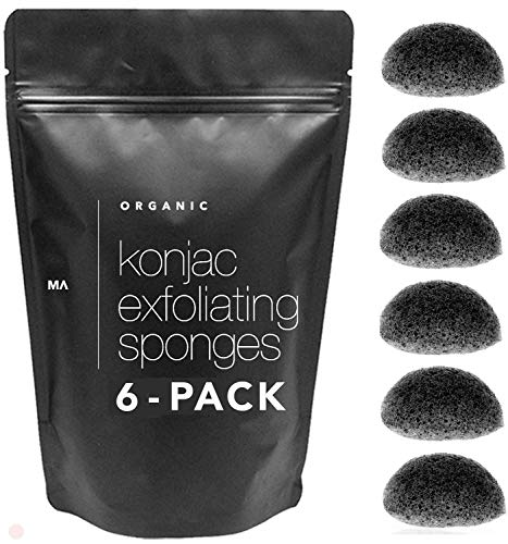 Minamul Konjac Exfoliating Organic Facial Sponge Set | Gentle Daily Face Scrub/skincare | Infused With Best Bamboo Activated Charcoal | Safe For Oily, Dry, Combination Or Sensitive Skin | 6 Pack Set