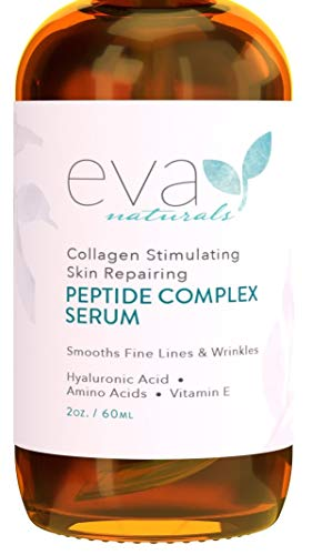 Peptide Complex Serum By Eva Naturals (2 Oz) Best Anti Aging Face Serum Reduces Wrinkles And Boosts Collagen Heals And Repairs Skin While Improving Tone And Texture Hyaluronic Acid & Vitamin E