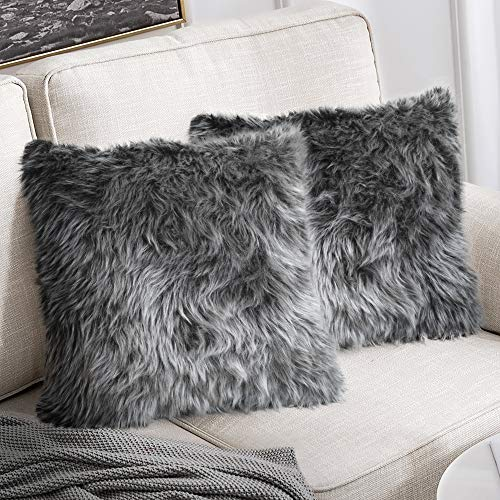 """Peshtemania Luxury Style Grey Faux Fur Throw Pillow Case (2packs 18""""x18"""") Decorative Cushion Cover For Sofa Couch Bedroom Living Room And Car Best For Modern, Marble And Glam Decor"""
