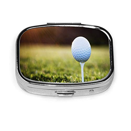 Pill Organizer Best Golf Balls Square Pill Box,portable Pill Box Small Pill Container For Purse Or Pocket, Travel Sized Pill Box Case With Divider (square 2 Section)