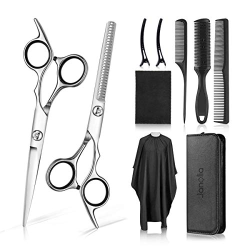 Skymore Hair Cutting Scissors Kit, 10 Pcs Professional Haircut Scissors Set With Tooth Shears, Comb, Hair Clip, Barber Cape, Cleaning Cloth, Leather Bag, Best For Home, Barber, Salon