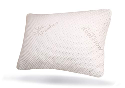 Snuggle Pedic Original Usa Made Ultra Luxury Bamboo Shredded Memory Foam Pillow Combination – Kool Flow Breathable Best Cooling Hypoallergenic Bed Pillow Outer Fabric Covering (queen)