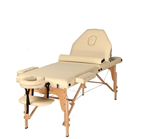 The Best Massage Table 3 Fold Reiki Portable Massage Table Free Half Bolster And Carry Case Pu Leather High Quality (cream)