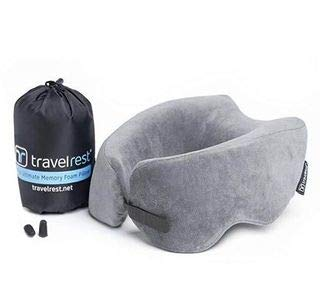 Travelrest Nest Patented Ultimate Memory Foam Travel Pillow Neck Pillow Washable Voted Best Travel Pillow For 2018 2020 By Nytimes Wirecutter Packs To 1/4 Of Its Size (2 Year Warranty)