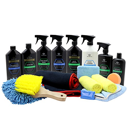 Trinova Car Wash Kit Complete Detailing Bundle Best For Washing Car, Truck, Suv. Accessories Included Shammy, Glove, Claybar, Applicator, Towel, Microfiber, Brush. All Amazing Supplies. 19 Pieces