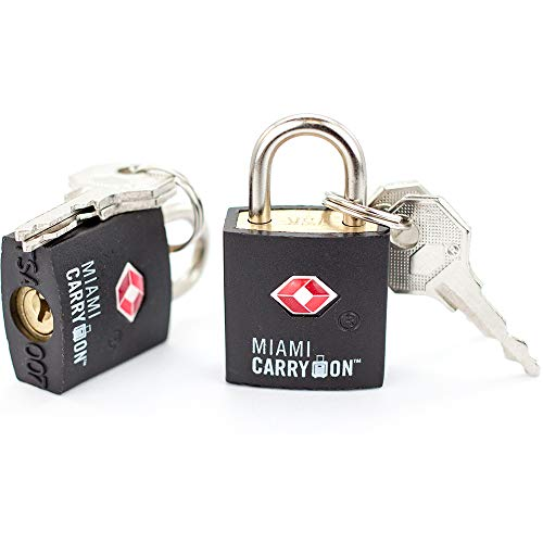 Tsa Approved Padlock Miami Carry On Best Tsa Keyed Luggage Lock, 0.9 Inch Wide Keyed Different Black (4 Pack)