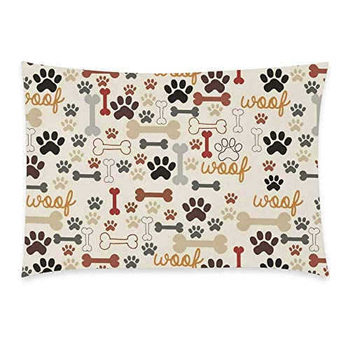 Wece Dog Paws And Bones Pillowcase Funny Paw Prints Dog Pet Zippered Pillowcase, Pillow Protector, Best Kids Or Baby Pillow Cover 20x30 Inches