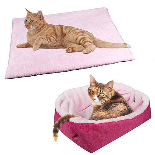 Yunnarl Furry Cat Bed/mat (convertible) Self Warming Cat Mat Light Weight Fur Pet Bed For Cats, Puppy Cat Bed Mat Machine Washable Puppy Bed Best For Indoor Cats Houses, Floor, Car Back Seat Pink