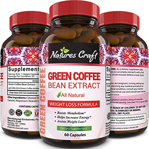 100% Pure Green Coffee Bean Extract Highest Quality 800 Mg Best Weight Loss Formula For Women And Men Natural Diet Pills Fat Burner Metabolism Booster Antioxidant 60 Capsules By Natures Craft
