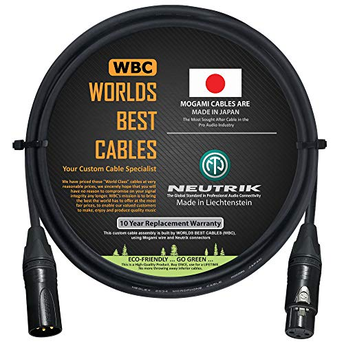 2 Foot – Quad Balanced Microphone Cable Custom Made By Worlds Best Cables – Using Mogami 2534 Wire And Neutrik Nc3mxx B Male & Nc3fxx B Female Xlr Plugs.