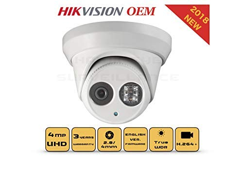 4mp Poe Security Ip Camera Turret,indoor And Outdoor,weather Proof,ir Night Vision, Wide Angle 2.8mm Lens,best For Home And Business Security Compatible With Hikvision Ds 2cd2343g0 I 3 Year Warranty