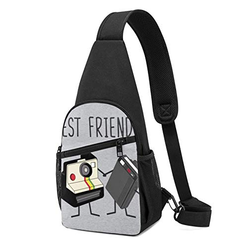 Alomama Best Friends Fun Vintage Camera And Retro Beeper Sling Backpack Sling Bag Black Crossbody Daypack Casual Backpack For Travel, Hiking, Cycling, Camping For Women & Men