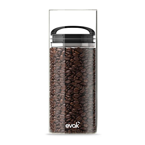 Best Premium Airtight Storage Container For Coffee Beans, Tea And Dry Goods Evak Innovation That Works By Prepara, Glass And Stainless, Compact Black Gloss Handle, Large