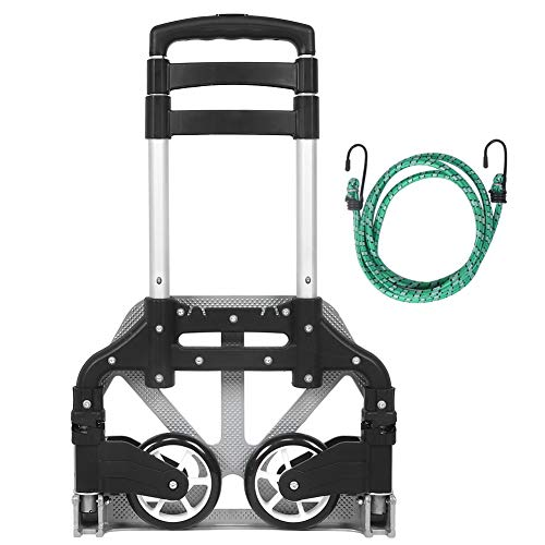 Best Ycldcyp Folding Hand Truck, 154 Lbs Heavy Duty Luggage Cart, 4 Wheels Solid Construction, Portable Fold Up Dolly, Compact And Lightweight For Luggage, Personal, Travel, Moving And Office Use
