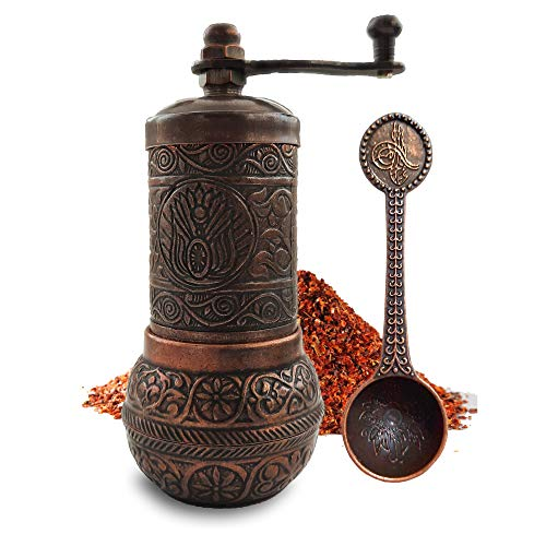 """Copper Pepper & Turkish Coffee Grinder Mill 4.2"""" Inch/with Antique Look Casting Carving Spice Spoon Spice Pepper And Turkish Coffee Grinder Best Gift Idea6"""
