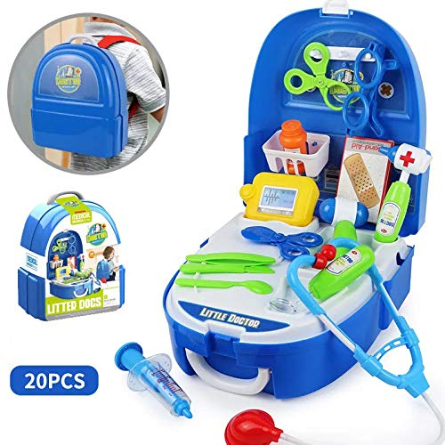 Deerbb 20 Pcs Doctor Kit For Toddler Pretend Play Dr Toys Backpack Birthday Gift Playset For Toddler Boys Girls 3 Years Old Preschool Learning Kids Role Play Best Educational Medical Set Age 6