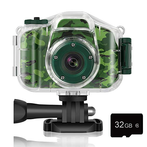 Deker Kids Camera Underwater Waterproof Camera For Best Christmas Birthday Gifts For Boys Girls Age 3 12 Hd Digital Video Camera Mini Children Camcorder Camera 2 Inch Ips Screen With 32gb Card (green)