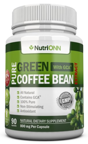 Green Coffee Bean Extract With Gca, 800mg 90 Vegetarian Capsules Best Value For Price! Highest Quality Pure Natural Coffee Extract For Weight Loss