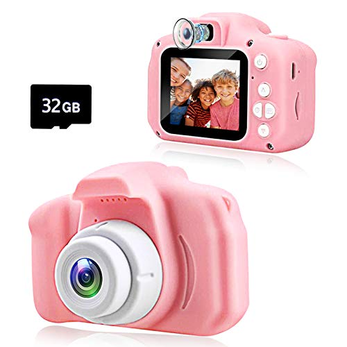 Kawelon Kids Camera, Best Birthday Gifts For 3 4 5 6 7 8 Year Old Girls Boys, Upgraded 20mp Hd Digital Video Children Selfie Cameras, Portable Toys For Kids Ages 3 9, With 32gb Sd Card Pink