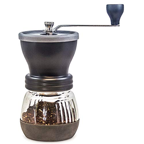 Khaw Fee Hg1b Manual Coffee Grinder With Conical Ceramic Burr Because Hand Ground Coffee Beans Taste Best, Infinitely Adjustable Grind, Glass Jar, Stainless Steel Built To Last, Quiet And Portable