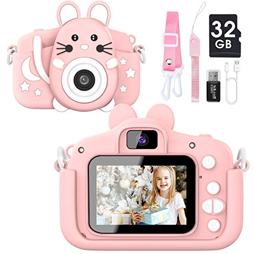 Kids Camera For Boys And Girls, 20.0 Mp Hd 1080p Digital Video Camera For Kids, Dual Camera 2.0 Inch Ips Screen Kids Camera With 32gb Sd Card, Best Gifts Toys For Boys Girls Age 3 12 Years (pink)