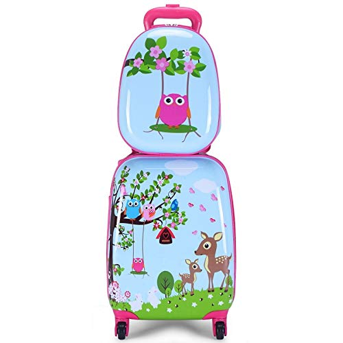 Kids Carry On Luggage Set Of 2 Best Girl Hard Shell Trolley Suitcase Spinner Wheels Animal Backpack Luggage
