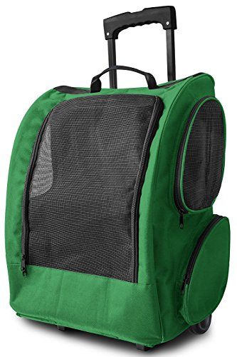 Paws & Pals Dog Backpack, Rolling Pet Carrier With Wheels & Breathable Mesh, Best For Carseat, Travel, Hiking With Small Medium Dogs, Cat, Rabbits & Ferrets, (green)