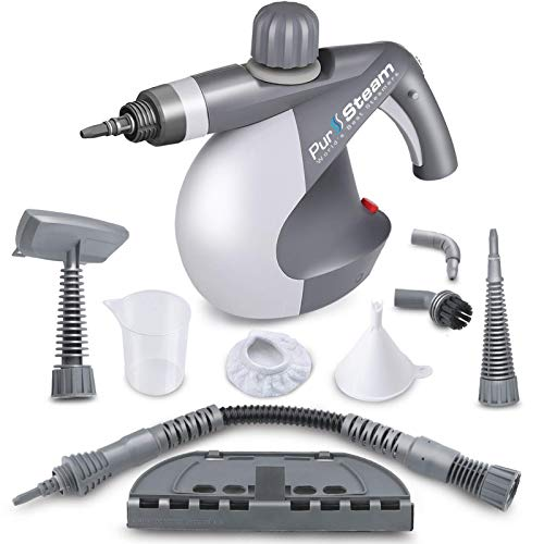 Pursteam World's Best Steamers Chemical Free Cleaning Pursteam Handheld Pressurized Steam Cleaner With 9 Piece Accessory Set Purpose And Multi Surface All Natural, Anthracite