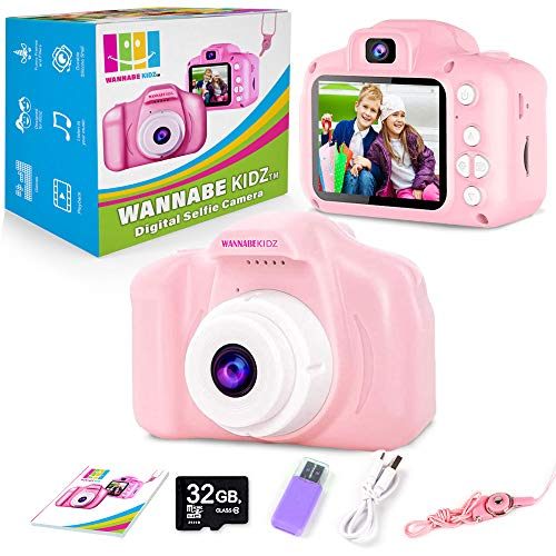 Wannabe Kidz Kids Camera For Girls Upgraded Pink Selfie Camera High Resolution Photo And Video Digital Cameras; Best Birthday Gift For Little Children And Toddlers Age 3 4 5 6 7 8 Years Old