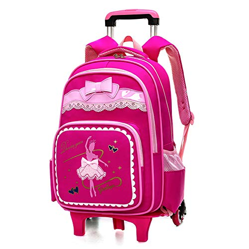 Xwws Bow Knot Trolley Rolling School Backpack Dancing Girl Waterproof Book Bag For Boys And Girls, Best Gift,rosered,b