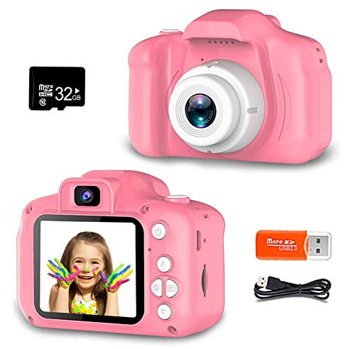 Zoulme Kids Selfie Camera, Digital Camera For Kids, Best Birthday Gifts For Girls Age 3 9, Hd Digital Video Cameras For Toddler,portable Toy For 3 4 5 6 7 8 Year Old Girl With 32gb Sd Card Pink